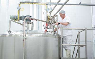 The milk is transferred into the mixing tank, to which is added milk powder,